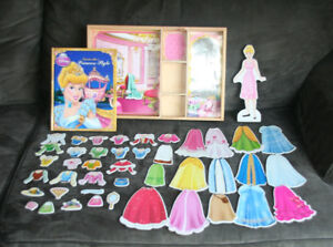 Disney Princess Dress Up Magnetic Wooden Doll with book
