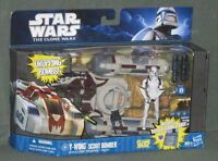 Star Wars Figure Vehicle Set CLONE 2 PK Y-WING SCOUT BOMBER TROO