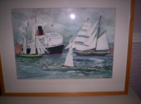 ORIGINAL WATER COLOR DEPICTING THE TALL SHIPS SAILING ACROSS THE FORTH