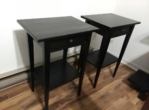 2 side tables and shelving unit