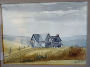Two Beautiful Watercolor Farming Landscapes by Des Major 1985 Stratford Kitchener Area image 2