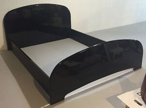Queen Size Black Lacquer Bedframe with Head and Foot Boards