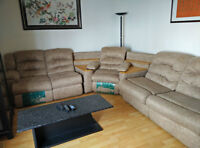 3-pieces Sectional recliner sofas (with massagers and sofa-bed)