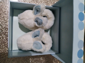 Doudou bonbon baby bunny slippers blue