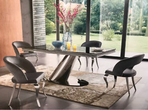 Stainless Steel Dining Table with Black Glass