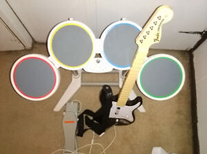 ROCKBAND DRUMSET AND GUITAR FOR NINTENDO WII