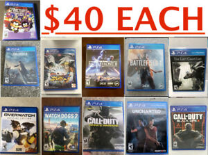 PS4 Games ( $40 EACH) Pick up only (Playstation 4)