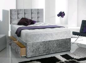 Delivered Today Time suits you Quality Crushed Velvet Divan Bed set