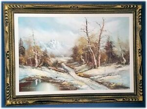 Original Framed Oil Painting - Winter Scene 32x44
