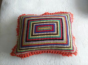 """Crochet cushion 16"""" x 12"""". Zippered case for easy care."""