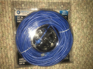 Ethernet Cable – CAT 5e – RJ45 – 100 ft (30m) – Blue