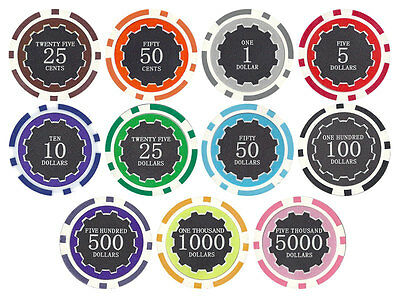 New Bulk Lot of 500 Eclipse 14g Clay Poker Chips - Pick Denominations!