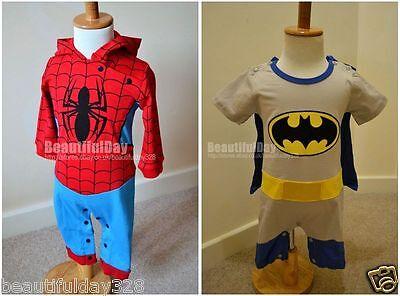 Batman Baby Kostüme (Baby Junge Spiderman / Batman Spielanzug Outfit Kostüm mit Kappe 6 - 24 Monate)