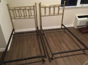 twin bed frames, brass headboard