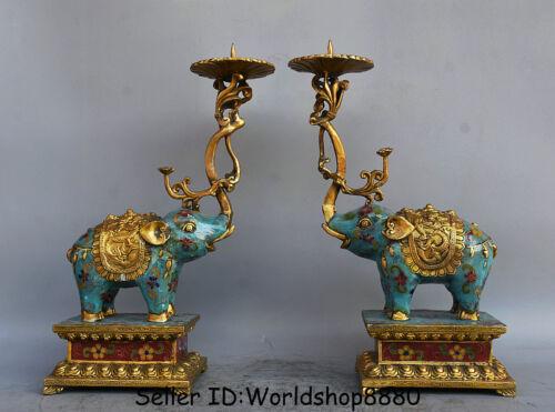 "12.8"" Old China Cloisonne Enamel Bronze Elephant Candle Holder Candlestick Pair"