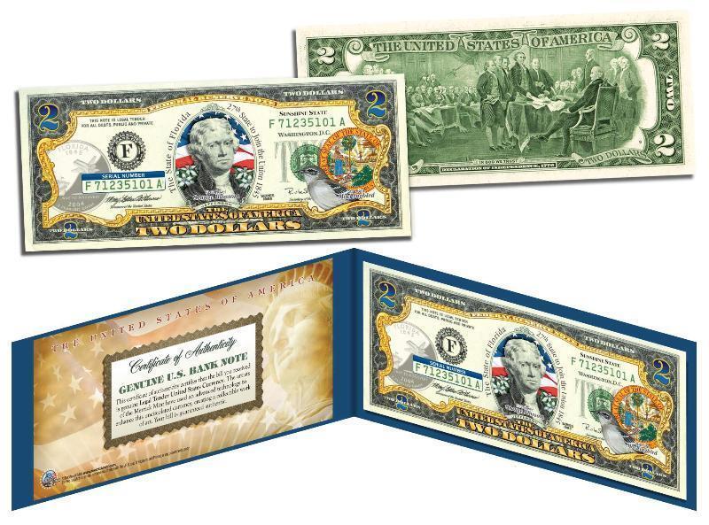 FLORIDA Statehood $2 Two-Dollar U.S. Bill FL State Legal Tender