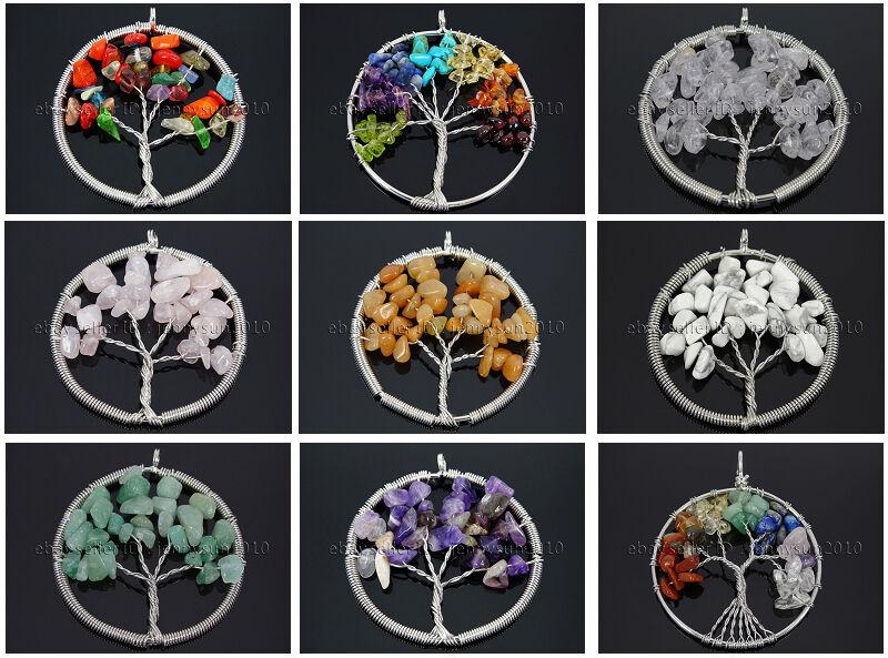 Natural Gemstone Reiki Chakra Chip Bead Tree of Life Pendant Charm Silver Plated