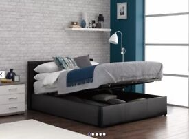 Faux leather black ottoman double bed storage lift up altered headboard height