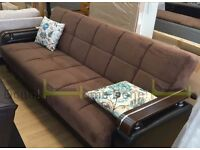 **7-DAY MONEY BACK GUARANTEE!* Talbot Premium Fabric Sofabed with Wooden Arms in Black and Brown
