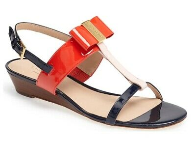 KATE SPADE AUTH $399 Women's Red Patent Leather T-Strap Wedge Vinny Sandals Sz 7