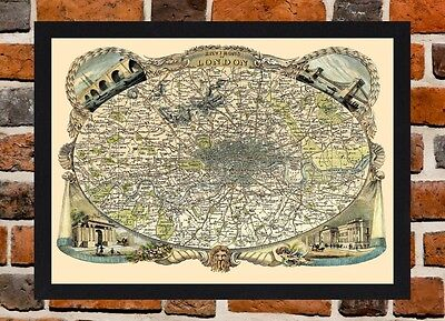 Framed Victorian Map Of London Circa 1830 A3 Size Mounted In Black Frame
