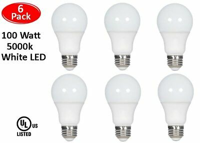 - 6 Pcs 100 Watt LED 5000K Daylight White Energy Saving 100W A19 11W Light Bulb UL