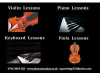 Piano, Violin, Viola, Keyboard, Guitar, and Woodwind lessons available for all ages