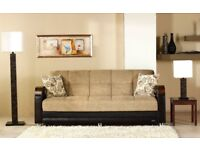 🔴💖65% = DISCOUNTED OFFER ** NEW Italian Style LARGE 3 SEATER SOFA BED + LARGE STORAGE + Quick Drop
