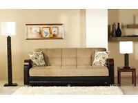 /14 DAYS MONEY BACK GUARANTEE / ITALIAN FABRIC SOFA BED WITH * MASSIVE STORAGE * SAME DAY DELIVERY