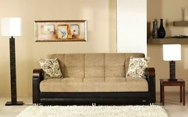 BUY -|Special Offer NEW Italian Style LARGE 3 SEATER SOFA BED With Large STORAGE + SAME DAY DELIVERY