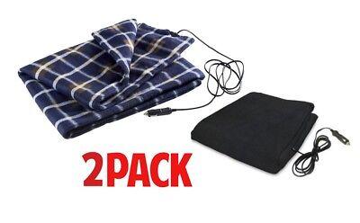 2-Pack Car Electric Heated 12V Travel Fleece Warm Winter Blanket Throw