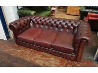 Deep Oxblood 3 seater vintage chesterfield