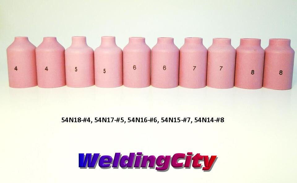 10-pk Assorted Gas Lens Cup 54N14-54N18 #4-#8 TIG Welding Torch 17//18//26 USA