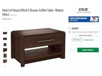 Heart of House Elford 1 Drawer Coffee Table - Walnut Effect