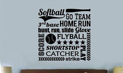SOFTBALL COLLAGE SUBWAY Words Lettering Vinyl Wall Decal