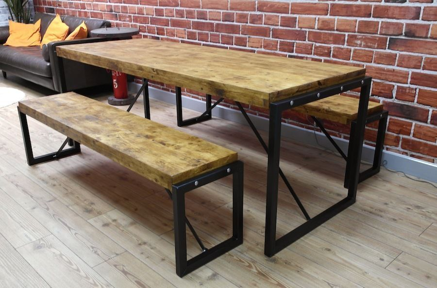 Steel Reclaimed Wood Dining Table Benches Set