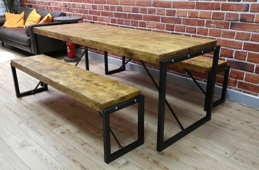Industrial Steel Reclaimed Wood Dining Table Benches Set In - Distressed wood dining table with bench