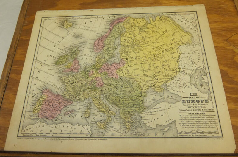 1839 Antique COLOR Mitchell Map  ///  EUROPE