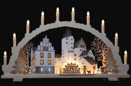 Schwibbogen Schloß Schwarzenberg 10 Kerzen mit LED - Vorbeleuchtung Erzgebirge