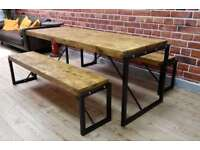 Industrial Dining Table and Bench Set Steel Reclaimed Rustic Wood