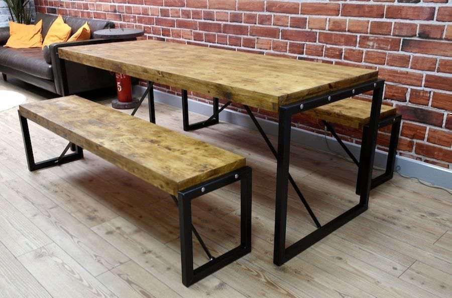Genial Industrial Dining Table And Bench Set Steel Reclaimed Rustic Wood