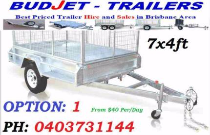 TRAILER HIRE  RENTAL BRISBANE 7x4 FT 750KG CAGED BOX FROM $40 P/D
