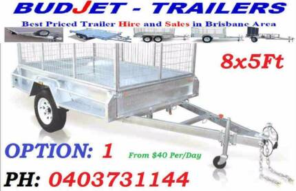 TRAILER HIRE BRISBANE 8x5 FT 750KG CAGED BOX FROM $40 P/D  SEE US