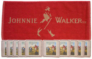 JOHNNIE WALKER Pub Bar Towel & 10 matching Beer Mats Coasters | Gift Set