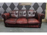 Fantastic Chesterfield 3 Seater Sofa in Oxblood Red Leather - UK Delivery