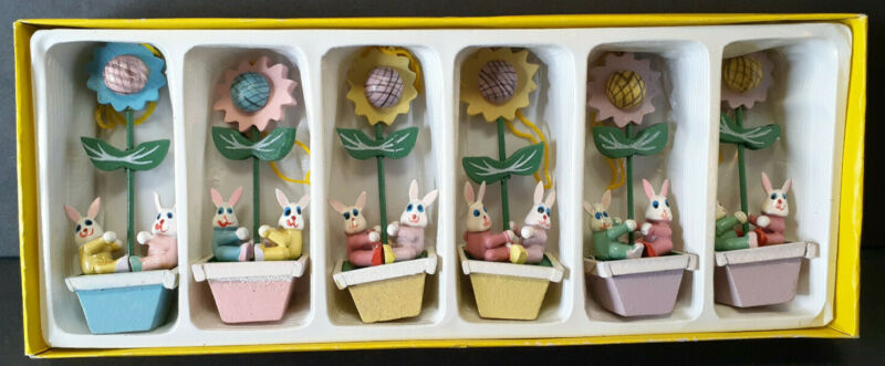 Vtg. 1980s Box of 6 Wooden Easter Ornaments Hand Painted *Bunnies in Flower Pots