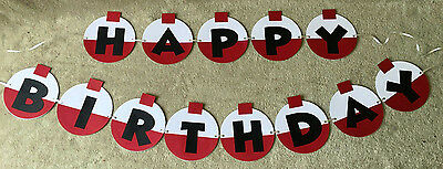 Happy Birthday Banners Personalized (Fishing Bobber Happy Birthday banner. Can be Personalized with name and/or)