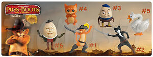 PUSS IN BOOTS movie toy set (all 6) - McDonald's / Dreamworks (2011) *Mint