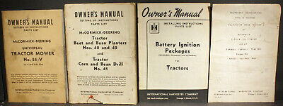 4 Mccormick-deering Manuals For Cultivator Ignition Beet Bean Planters Mower