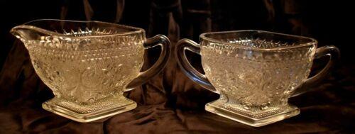 Diamond Shaped Sugar and Creamer Indiana Sandwich Glass vintage antique